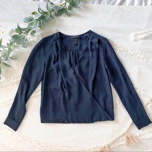 Navy blue v-neck surplice blouse long sleeve shirt